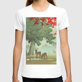 Vintage Japanese Woodblock Print Nara Park Deers Green Trees Red Japanese Maple Tree T-shirt