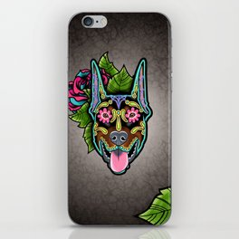 Doberman with Cropped Ears - Day of the Dead Sugar Skull Dog iPhone Skin