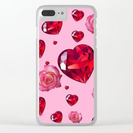 PINK  ART RAINING ROSES RUBY RED VALENTINES HEARTS Clear iPhone Case