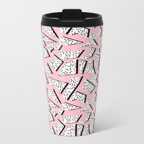 Crunk - throwback retro memphis design style minimal pattern print pink white and black Metal Travel Mug