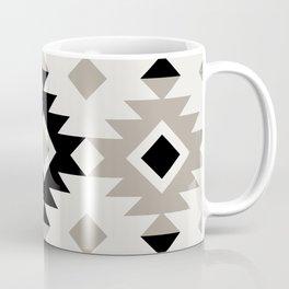 Minimalist Geometric South Western Boho Tribal Pattern in Black and Taupe Gray Coffee Mug