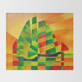 Chinese Junks, Sunset, Sails and Shadows Throw Blanket