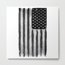 Black and white USA flag Grunge Metal Print