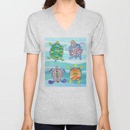 Azure blue tropical turtle friends Unisex V-Neck