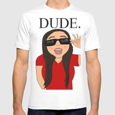 DUDE. Mens Fitted Tee MEDIUM White