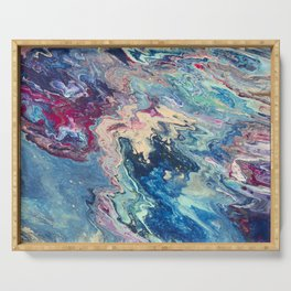 Blue swirl pour painting, Bohemian Style painting Serving Tray