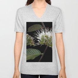 White Floral Watercolor Unisex V-Neck