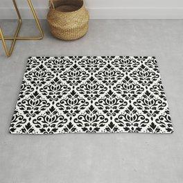 Scroll Damask Pattern Black on White Rug