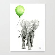 Baby Elephant Watercolor Green Balloon Neutral Color Nursery Decor Canvas Print