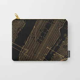 Black and gold New York City map Carry-All Pouch
