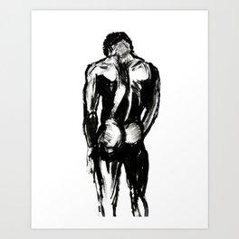 Nude Art, Naked Black African American Men, Erotic, Erotica, Sexy, Ink, Watercolor, Mature, Nudity Art Print