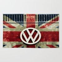union jack Area & Throw Rugs featuring VW Retro Union Jack by Alice Gosling