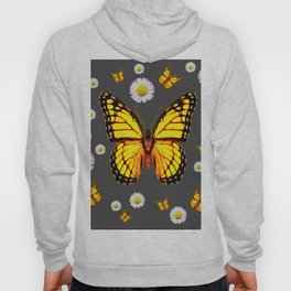 YELLOW MONARCH BUTTERFLIES WHITE DAISIES ON GREY Hoody