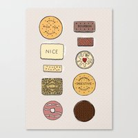 british Canvas Prints featuring British Biscuits by LuvMoo
