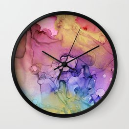 Colorful Abstract Ink Swirls with Gold Marble Wall Clock
