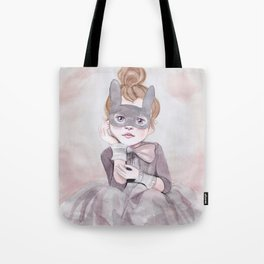 Little Girl in Mask Tote Bag