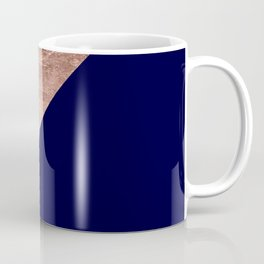 Minimalist rose gold navy blue color block geometric Coffee Mug
