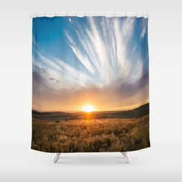 Grand Exit - Golden Sunset on the Oklahoma Prairie Shower Curtain