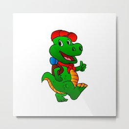 Dino hiker. Metal Print