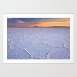 II - Salt flat Salar de Uyuni in Bolivia at sunrise Art Print