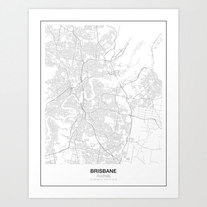 Brisbane, Australia Minimalist Map Art Print by resfeber | Society6