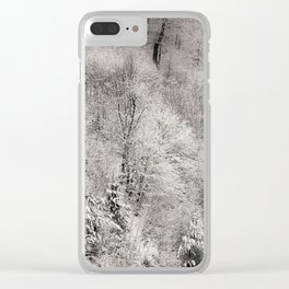 Trees covered with snow, winter landscape. Clear iPhone Case
