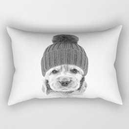 Black and White Cocker Spaniel Rectangular Pillow