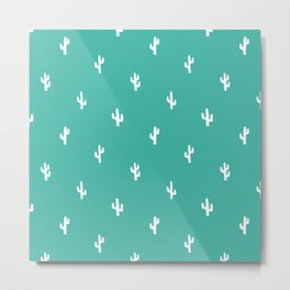 Minimalist Cactus Pattern in Turquoise Blue Green and White Metal Print