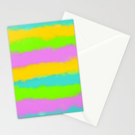 blue yellow green and pink painting background Stationery Cards