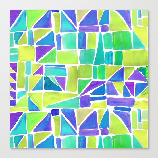 Watercolour Shapes Lemon Canvas Print