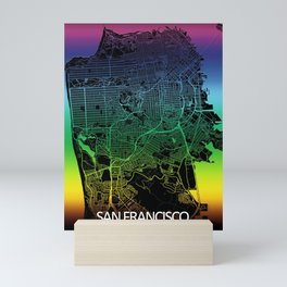 San Francisco, CA, USA, City, Map, Rainbow, Map, Art, Print Mini Art Print