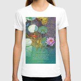 Serenity Prayer Koi Pond Lotus T-shirt