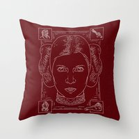 leia Throw Pillows featuring Leia by Jon Deviny