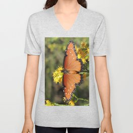 Queen Butterfly on Rubber Rabbitbrush in Claremont CA Unisex V-Neck