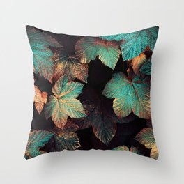 Copper And Teal Leaves Throw Pillow