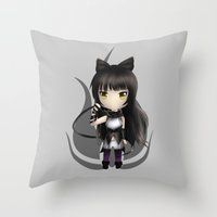 rwby Throw Pillows featuring Blake by Louiology