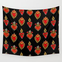 Sacred hearts pattern Wall Tapestry