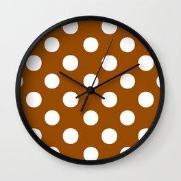 Polka Dots (White/Brown) Wall Clock