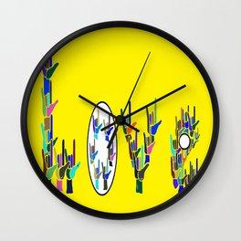 ASL LOVE HANDS TYPOGRAPHY Wall Clock