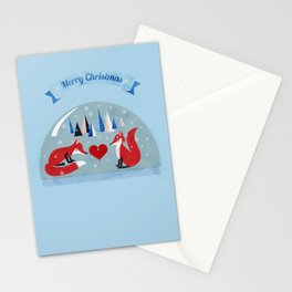 Christmas foxes in love Stationery Cards