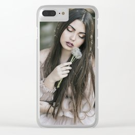 Dandelion girl Clear iPhone Case