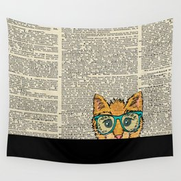 Orange Kitty Cat Wall Tapestry