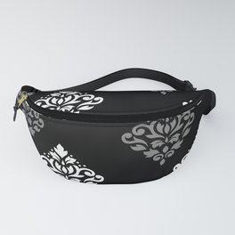 Scroll Damask Art I Black Grey White Fanny Pack