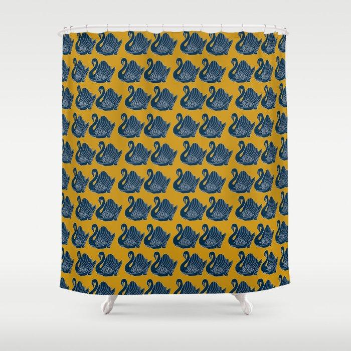 Crown Lynn Swans Mustard Shower Curtain