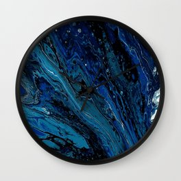 Blue mood abstract art Wall Clock