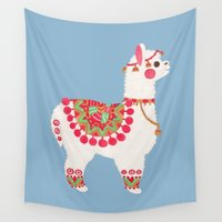 alpaca Wall Tapestries featuring The Alpaca by haidishabrina