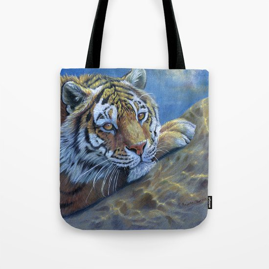 Tiger on the rock CC117 Tote Bag