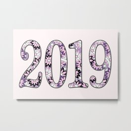 2019 patterned with pink flowers Metal Print