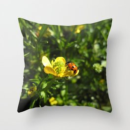 Ladybug crawling around Throw Pillow