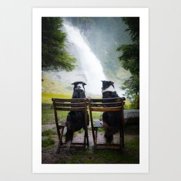 Friends on wooden chairs | Border Collies watching the waterfall Art Print